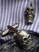 Skull Head Pewter Cuff Links